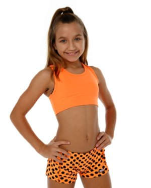 CrazyPants Orange with Black Polka Dots Shorts