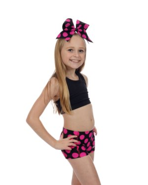CrazyPants Black with Pink Polka Dots Shorts