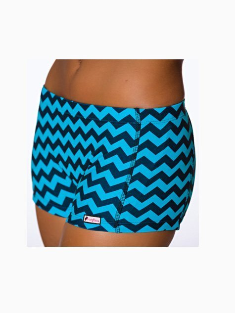 CrazyPants Turquoise & Black Chevron Shorts