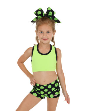 CrazyPants Black w/ Green Polka Dots Shorts