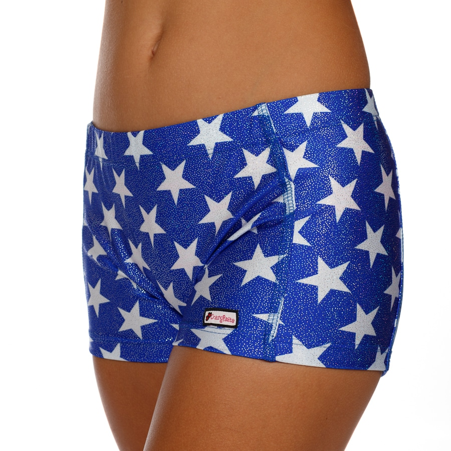 CrazyPants Sparkle Blue with White Stars Shorts