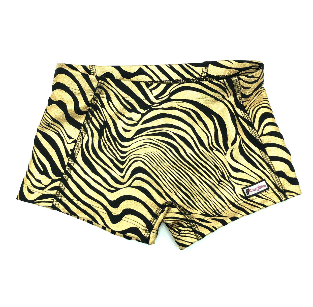CrazyPants Sparkle Gold & Black Zebra Shorts
